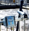 Wastewater treatment operator measuring dissolved oxygen using Hach SC200 Controller